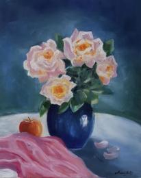 Stillleben mit Rosen, Öl 40x50 cm