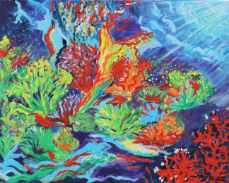 Unterwasserwelt I, Acryl auf Leinwand, 40x50cm